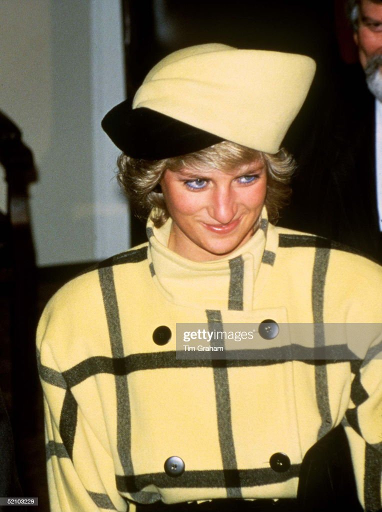 Princess Diana In Berlin Wearing A Coat By Designer Escada And A Hat Designed By Philip Somerville On 1st November 1987