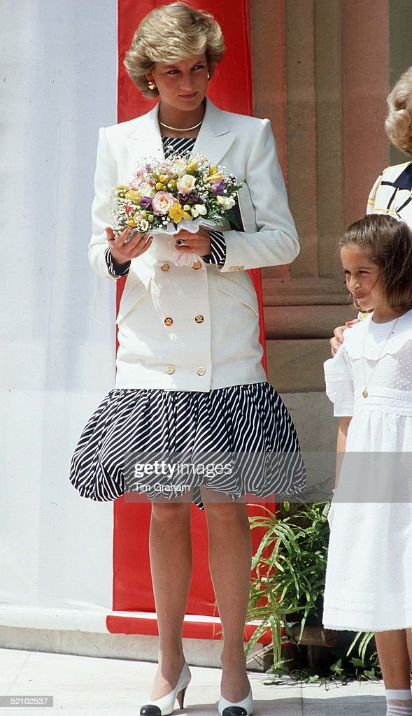 Princess Diana In Cannes Wearing A Puff-ball Skirt.