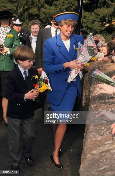 Princess Diana in Cardiff with her son Prince William at his first official engagement for St David's Day on March 1 1991