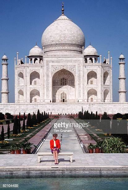 Princess Diana In Front Of The Taj Mahal
