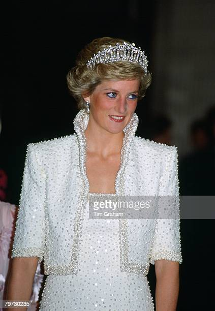 Princess Diana in Hong Kong wears an outfit described as the 'Elvis dress' designed by Catherine Walker