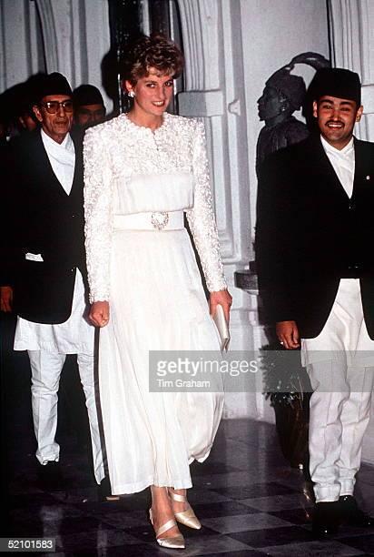 Princess Diana In Nepal In A Cream Silk Evening Dress Designed By Fashion Designer Catherine Walker
