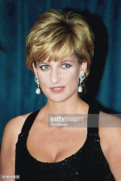 Princess Diana in New York to accept the United Cerebral Palsy Foundation's Humanitarian of the Year award She is wearing a Catherine Walker gown