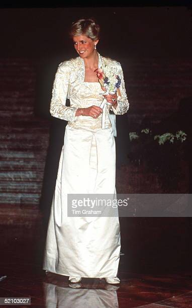 Princess Diana In New York Wearing A Dress Designed By Fashion Designer Victor Edelstein At The Brooklyn Academy Of Music To See A Welsh National...