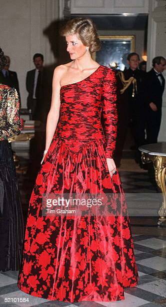 Princess Diana In Paris In Red And Black Oneshouldered Evening Dress Designed By Fashion Designer Catherine Walker At A Dinner Given By The British...