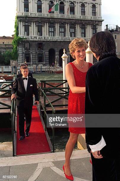 Princess Of Wales Being Greeted By David Tang In Venice Her Dress Designed By Jacques Azagury