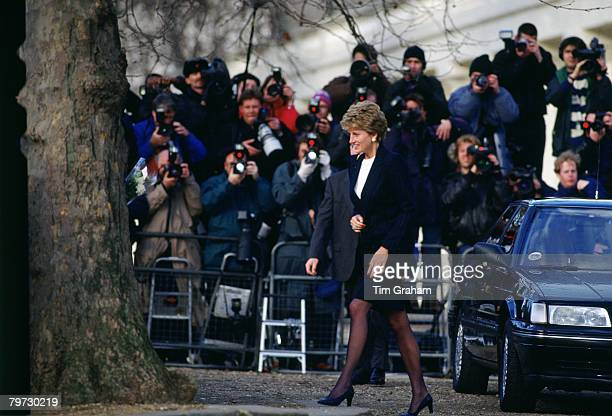 Princess Diana is photographed by the press while visiting the homeless charity Centerpoint of which the Princess is patron