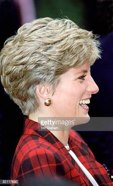Princess Diana Laughing During An Official Visit To Manchester