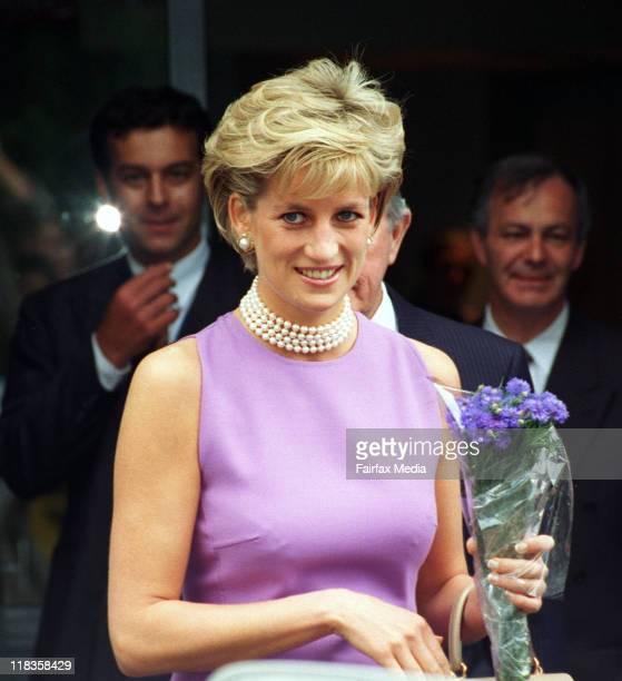 Princess Diana leaves St Vincents Hospital Sydney after a fundraising gala 1 November 1996