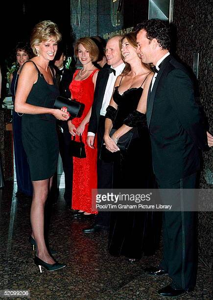 Princess Diana Meeting Actor Tom Hanks With His Wife Rita Wilson And Director Ron Howard At The Film Preview Of 'apollo 13' In London