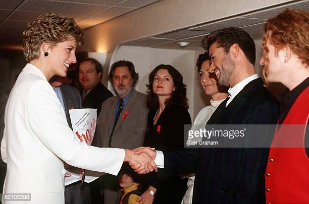 Princess Diana Meeting Pop Singers George Michael Kd Lang And Mick Hucknall At The World Aids Day Annual 'concert Of Hope' At Wembley Arena To Raise...