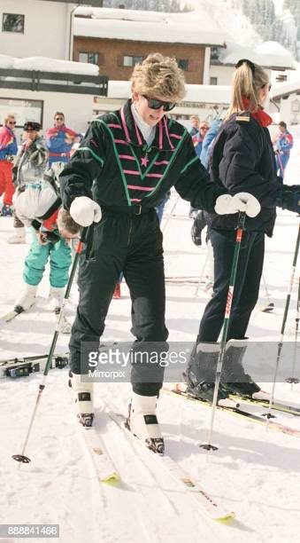 Princess Diana on her skiing holiday at The Austrian Ski Resort Of Lech Austria Prince William and Prince Harry are also on the trip and in other...