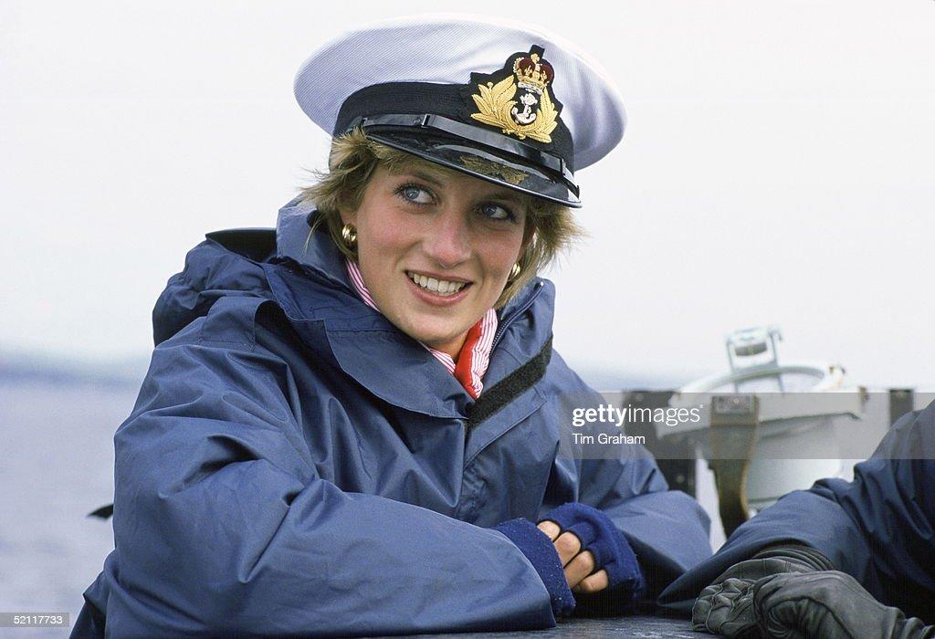 Princess Diana On The Nuclear Submarine Hms Trafalgar Wearing A Naval Hat