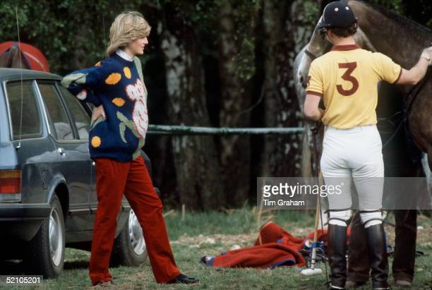 Princess Diana Pregnant And Supporting Her Back While At Polo At Smiths Lawn In Windsor With Prince Charles