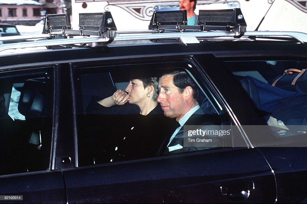 Princess Diana & Prince Charles Leaving Lech, Austria, After News Of Her Father Earl Spencer's Death