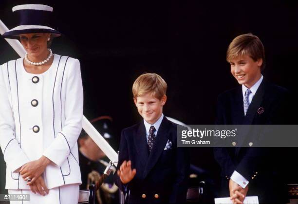 Princess Diana Prince Harry [ Waving ] And Prince William Watching The Parade Of Veterans On V J Day The Mall London Designer Of Diana's Suit Tomasz...