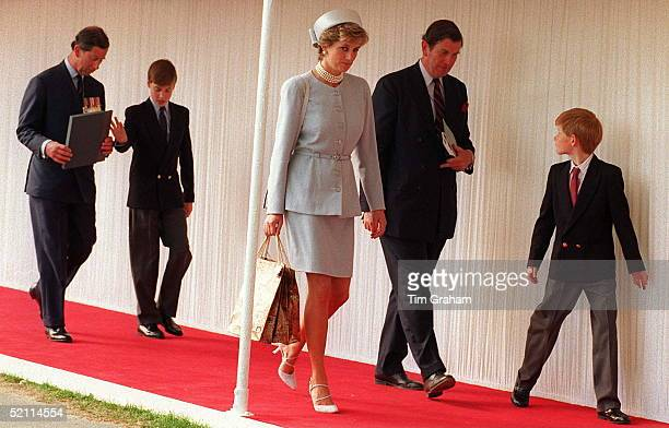 Princess Diana Prince Harry With Prince Charles Prince William In Hyde Park For Heads Of State Ceremony As Part Of Ve Commemoration