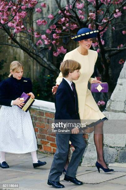 Princess Diana Prince William And Zara Phillips Attending Easter Service In Windsor