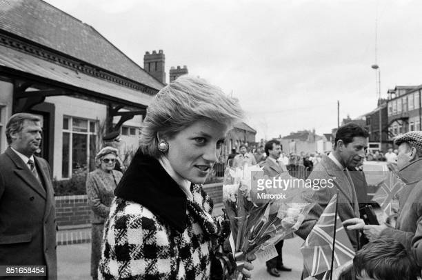 Princess Diana Princess of Wales and Prince Charles Prince of Wales seen here arriving at Middlesbrough Station during a visit to Teesside 18th March...
