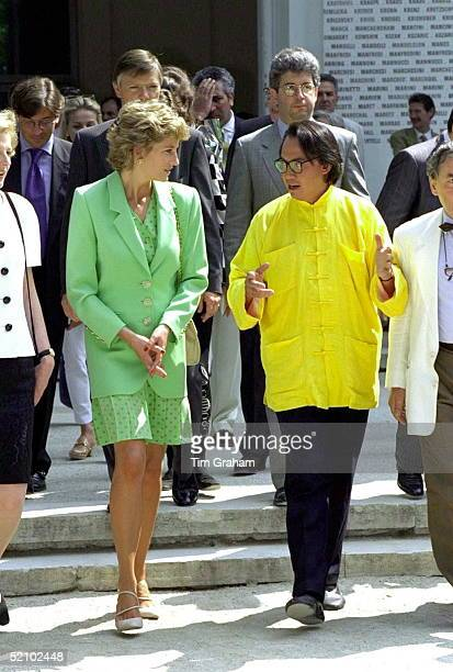 Princess Diana Princess Of Wales Arriving At The Venice Biennale In Italy With David Tang