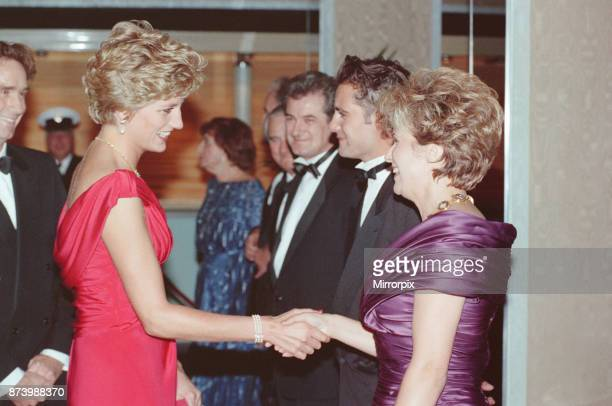 Princess Diana Princess of Wales at Odeon Cinema in London to attend the premiere of Julie Walter's new film 'Just Like a Woman' Picture shows The...