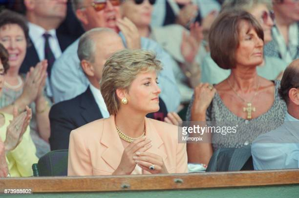 Princess Diana Princess of Wales attends the 1993 Men's Singles Wimbledon Tennis Final In other frames in this set The Princess is shown sitting next...