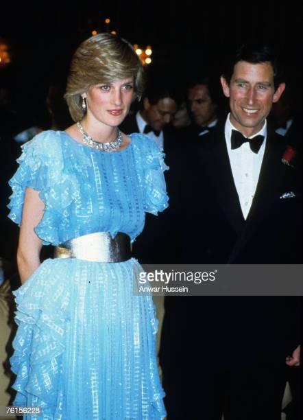 Princess Diana Princess of Wales Prince Charles Prince of Wales in Australia in 1983 Diana wears Bruce Oldfield dress