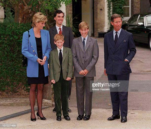Princess Diana Princess of Wales Prince Harry Prince William and Prince Charles Prince of Wales attend Prince William's first day at Eton College on...