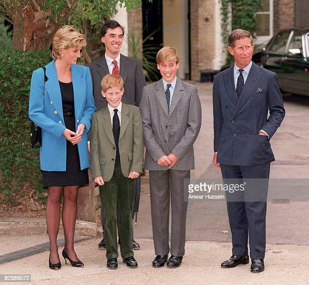 Prince Williams poses with The Prince and Princess of Wales Prince Harry and housemaster Dr Andrew Gailey as he starts at Eton College in September...