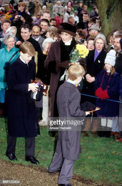 Princess Diana Princess of Wales Prince William and Prince Harry meet the public following the Christmas Day Service on December 25 1994 in...