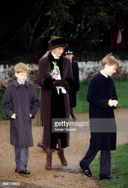 Princess Diana Princess of Wales Prince William and Prince Harry attend the Christmas Day Service on December 25 1994 in Sandringham England