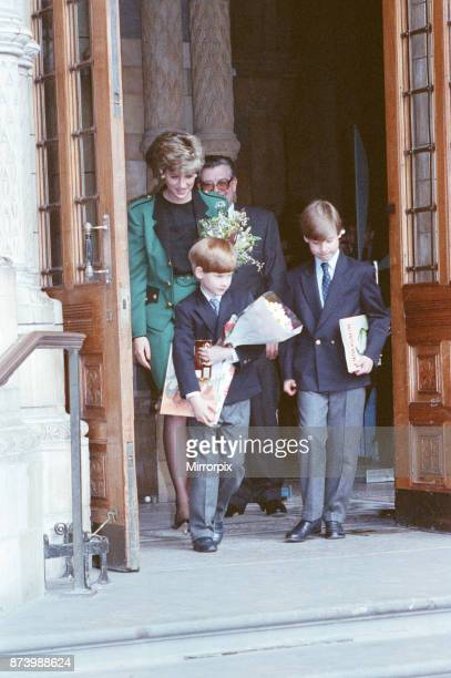 Princess Diana Princess of Wales takes her sons Prince William and Prince Harry to The National History Museum in London to the see Dinosaur...