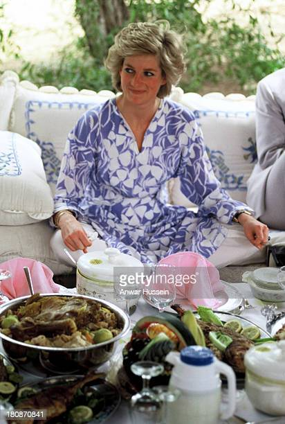 Princess Diana Princess of Wales wearing a Catherine Walker outfit enjoys a desert picnic during a tour of the Gulf States on March 15 1989 in Al Ain...
