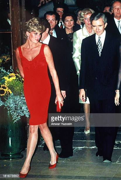 Princess Diana Princess of Wales wearing a dress designed by Christian Lacroix arrives at the Petit Palais for a dinner in her honour on September 25...