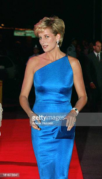 Princess Diana Princess of Wales wearing a Versace dress as she attends a dinner dance on October 31 1996 in Sydney Australia