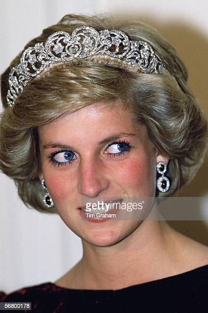Princess Diana Princess of Wales wears the Spencer tiara to a banquet in Canberra Australia