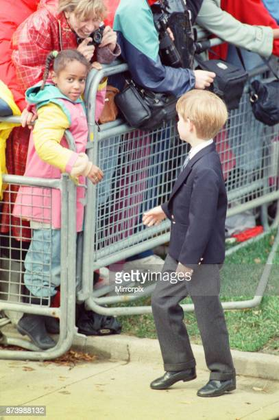 Princess Diana Princess of Wales with her sons William and Harry on a walkabout after church service at St James Cathedral in Toronto Canada Picture...