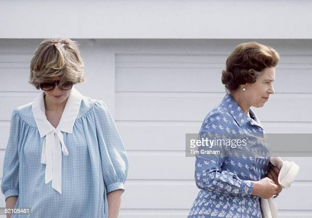 Princess Diana [princess Of Wales] With Queen Elizabeth Ll Watching A Polo Match At Guards Polo Club Windsor Berkshire Princess Diana Is Earing A...