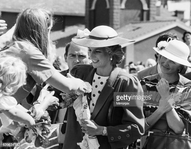 Princess Diana shaking hands with well wishers at the Middlesbrough Enterprise Centre during a royal tour of Teesside 16th July 1985