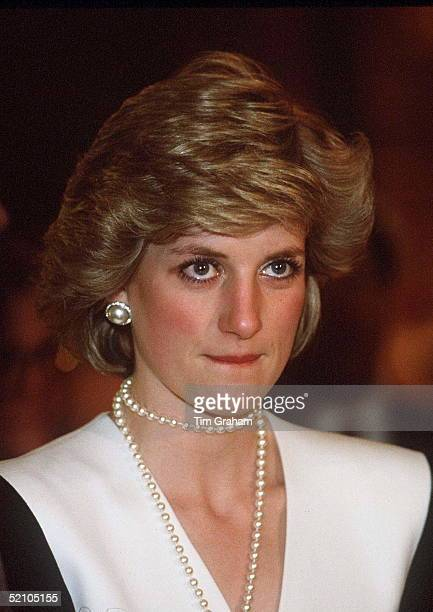 Princess Diana Showing Her Nervousness At A Reception For The Japanese Media At Akasaka Palace Tokyo Japan