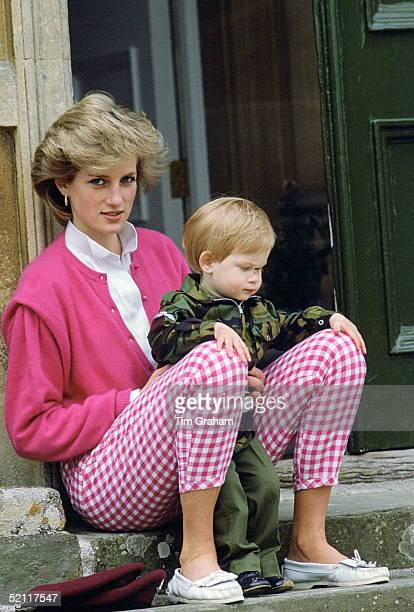 Princess Diana Sitting Outside Highgrove With Her Son Harry Who Is In Uniform As A Soldier