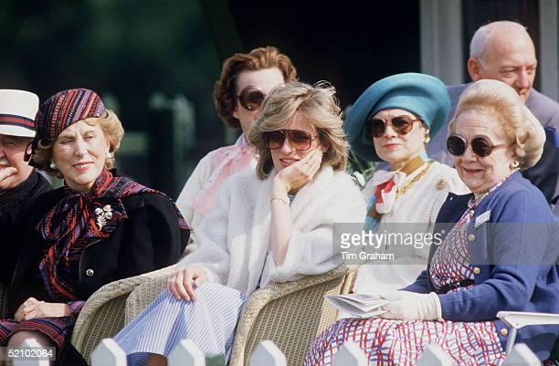 Princess Diana Sitting With Madame Estee Lauder And Betty Kenward Watching A Charity Polo Match In Windsor