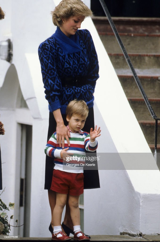 Princess Diana (1961 - 1997) taking Prince William for his first day at Mrs Mynor's Nursery School in Notting Hill Gate, London on September 24, 1985.