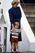 Princess Diana taking Prince William for his first day at Mrs Mynor's Nursery School in Notting Hill Gate London on September 24 1985