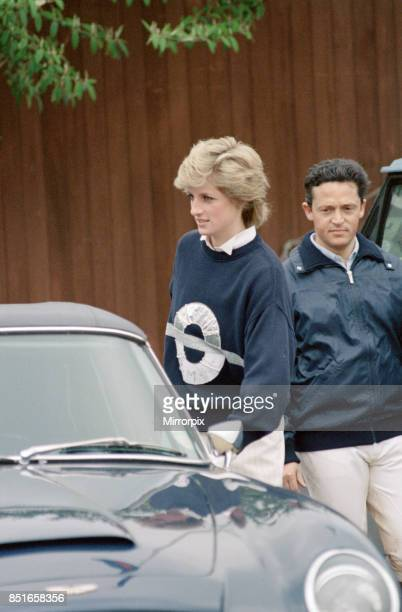 Princess Diana the Princess of Wales at Smith's Lawn Windsor to watch her husband take part in a polo match at Guards Polo Club accompanied by...