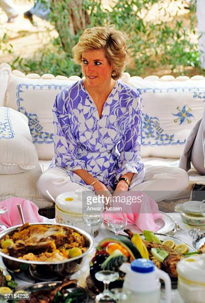 Princess Diana the Princess of Wales in a Catherine Walker outfit sits crosslegged at a desert picnic in Saudi Arabia in November of 1986
