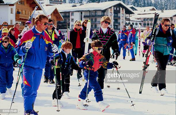 Princess Diana the Princess of Wales Prince William and Prince Harry head for the slopes during their skiing holiday in March 1992 in Austria