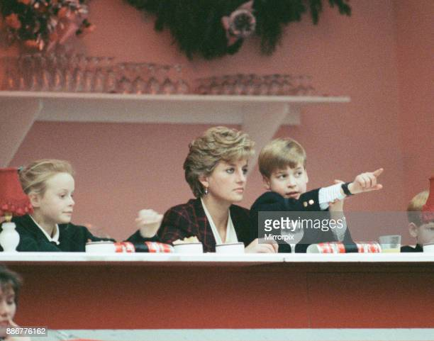 HRH Princess Diana The Princess of Wales with her sons Prince William and Prince Harry They are pictured at The International Horse Show in Olympia...