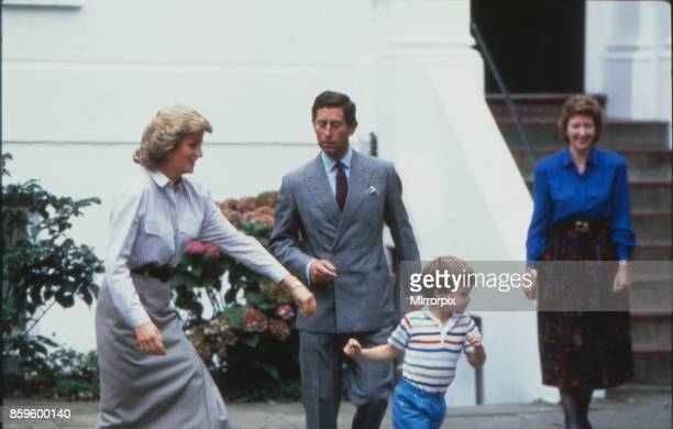 Princess Diana tries to catch up with her son William whilst Prince Charles gets ready to help on the day Prince Harry attends his first day at...