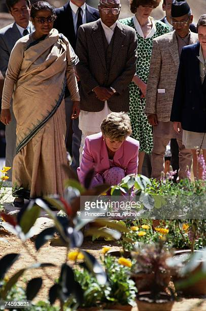 Princess Diana visits a memorial to victims of a Pakistan Airlines crash in the hills outside Kathmandu Nepal 4th March 1993